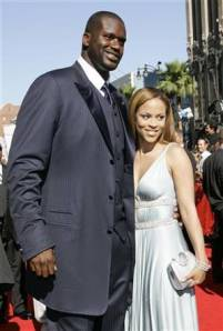 Shaquille O'neal pictured with his wife Shaunie O'neal
